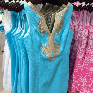 Lilly Pulitzer Janice Turquoise and Gold Dress